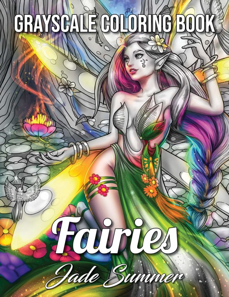 Fairies Grayscale: An Adult Coloring Book with Beautiful Fantasy